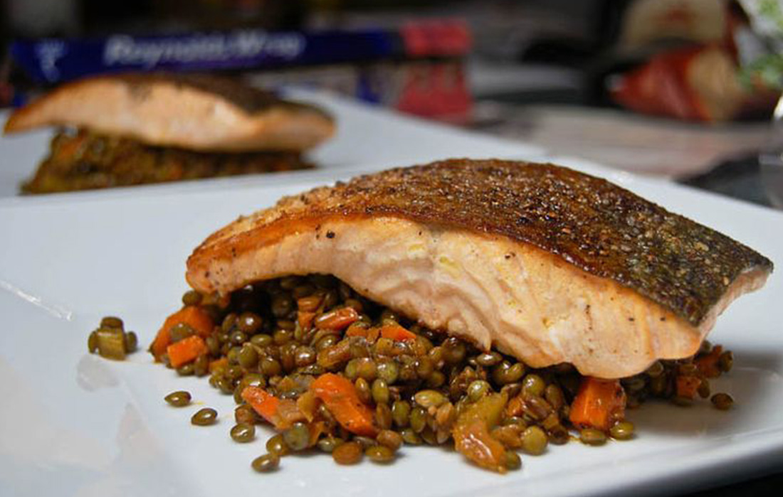 Kim's Salmon & Lentils:  A Heart-Healthy Combination